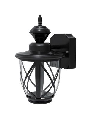 Heath Zenith Motion Activated Carriage Lantern Black Metal Dusk to Dawn LED 120 volts 100 watt