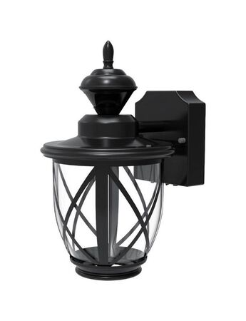 Heath Zenith Motion Activated Carriage Lantern Black Metal Dusk to Dawn LED 120 volts 100 watt