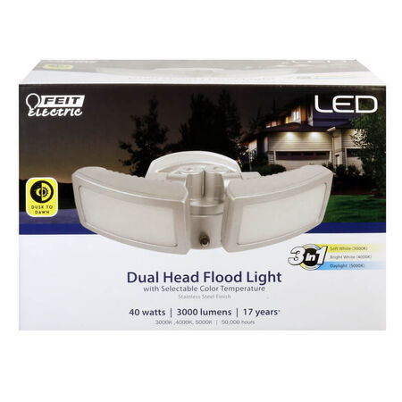 Feit Electric Dusk to Dawn Hardwired LED Silver Security Floodlight