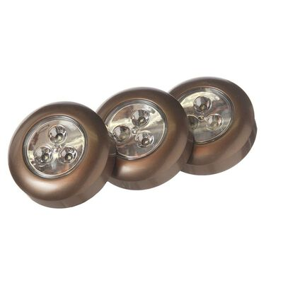 Fulcrum LIGHT IT LED Battery-Operated Puck Light 3 pk Bronze
