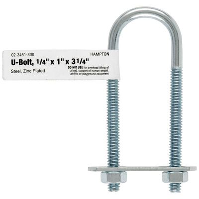 Hampton 1 in. W x 3-1/4 in. L Zinc Plated Steel U-Bolt 10 pk
