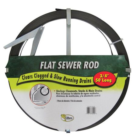 Cobra 3/4 in. Flat Steel Sewer Rod 50 ft. L