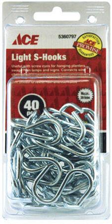 Ace 1.5 in. L Zinc Plated Steel S Hook 40 pk