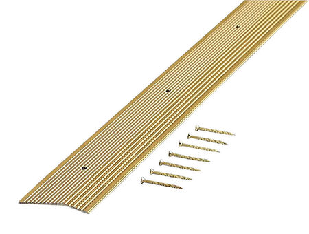M-D Building Products Fluted Carpet Trim Aluminum 3/8 in. H x 2 in. W x 96 in. D Satin Brass
