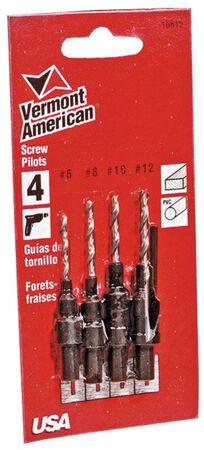 Vermont American Steel Wood Screw Pilot Set Straight Shank 4 pc.