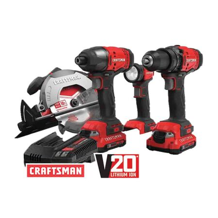 Craftsman V20 20V MAX Cordless 4-tool Combo Kit with 2-1.3AH Batteries and Charger