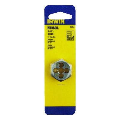 Irwin Hanson High Carbon Steel 3/8 in.-16NC SAE Hexagon Die 1 pc.