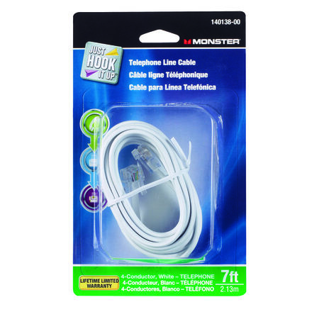Monster Cable 7 ft. L White Modular Telephone Line Cable