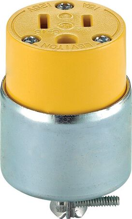 Leviton Commercial Armored Grounding Connector 5-15R 2 Pole 3 Wire Yellow