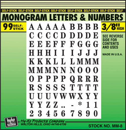 Hy-Ko Self-Adhesive Black 3/8 in. Vinyl Letters and Numbers 0-9 A-Z