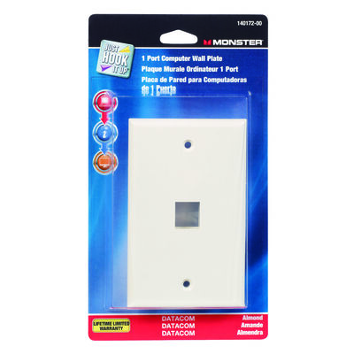 Monster Cable Just Hook It Up 1 gang Almond Multi-Media Keystone Wall Plate