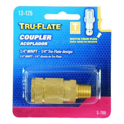 Tru-Flate Brass Quick Change Coupler 1/4 in. MNPT Male T