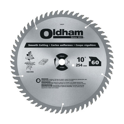 Oldham 10 in. Dia. 60 teeth Carbide Tip Steel Circular Saw Blade For Smooth Cutting