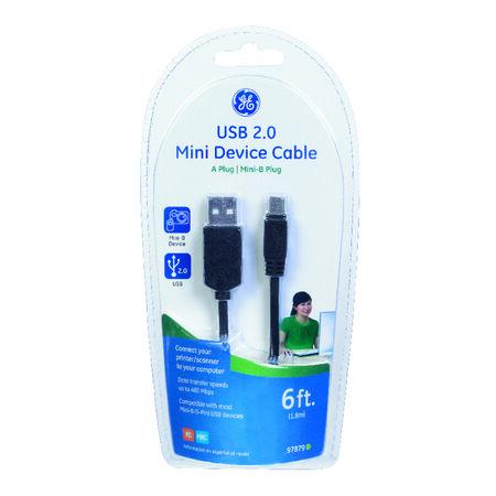 GE 6 ft. L Black USB Mini Device Cable
