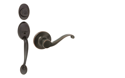 Coventry Oil-Rubbed Bronze Door Handleset with Scroll Lever Interior and Single Cylinder Deadbolt