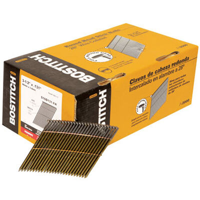 """2,000-Qty 3-1/2"""" x .131 Smooth Shank 28 degree Wire Collated Full Round Head Stick Framing Nails"""