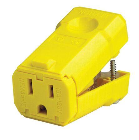 Leviton Industrial Nylon Grounding Python Plug 5-15R 2 Pole 3 Wire Yellow