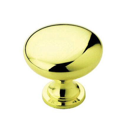 Amerock Allison Round Furniture Knob 1-1/4 in. Dia. 1-1/8 in. Polished Brass 10 pk