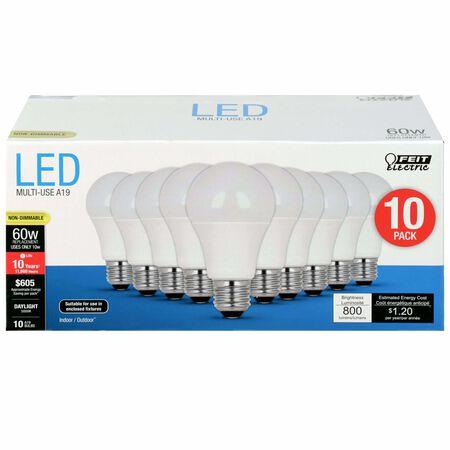 FEIT Electric A19 E26 (Medium) LED Bulb Daylight 60 Watt Equivalence 10 pk