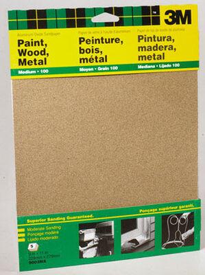 3M Aluminum Oxide Sandpaper 11 in. L 100 Grit Medium 5 pk