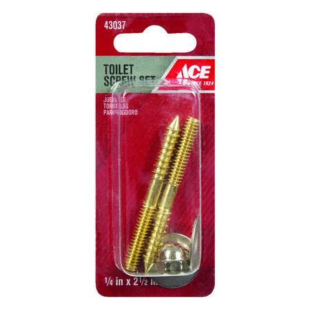 Ace Toilet Screw Set 1/4 in. H x 2-1/2 in. L Brass