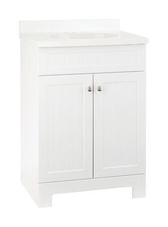 Continental Cabinets Edgewater Single White Vanity and Top Combo 24 in. W x 18 in. D x 33-1/2 in