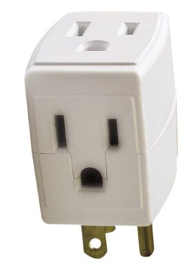 Ace Grounded Square 3-Outlet Adapter White 15 amps 125 volts 1 pk