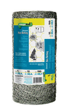 Garden Zone Poultry Netting 12 in. H x 150 ft. L 20 Ga. Silver