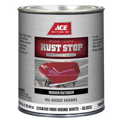 Ace Interior/Exterior Rust Stop Oil-based Enamel Paint White Gloss 1 qt.