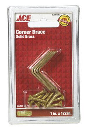 Ace Inside Corner Brace 1 in. x 1/2 in. Brass