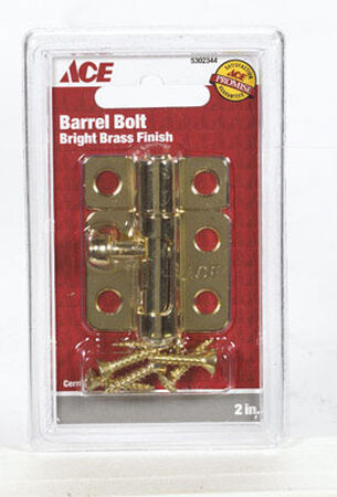 Ace Barrel Bolt 2 in. Bright Brass Clamshell