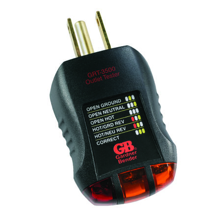 GB Outlet Tester 110-120 VAC Black