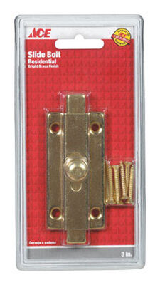 Ace 3 in. L Brass Slide Bolt