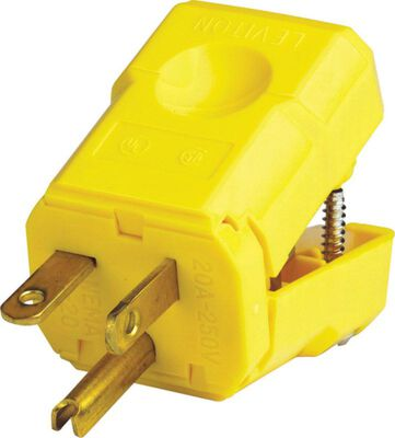 Leviton Industrial Nylon Grounding Python Plug 6-20P 18-10 AWG 2 Pole 3 Wire Yellow