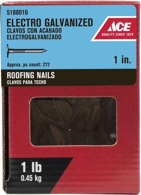 Ace Large 1 in. L Roofing Nail Smooth Electro-Galvanized Steel 1 lb.