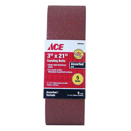 Ace Sanding Belt 3 in. W x 21 in. L Assorted 5 pk