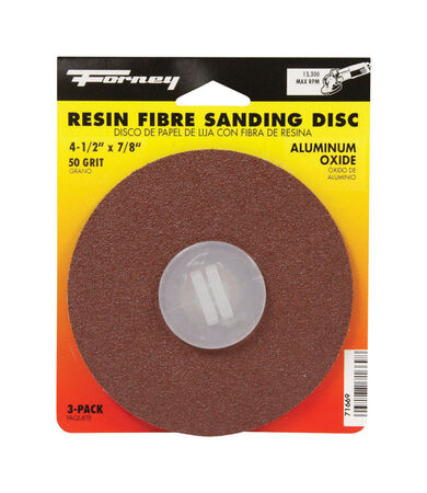 Forney 4-1/2 in. Dia. Sanding Disc 50 Grit Adhesive 3 pk