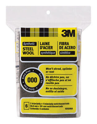 3M 2 in. W x 4 in. L Extra Fine 000 Steel Wool