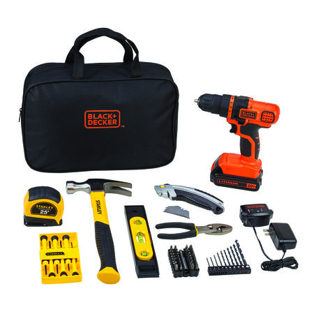Black+Decker and Stanley 70 pc. Cordless Drill/Driver Kit Lithium-Ion 20 volts 0-650 rpm