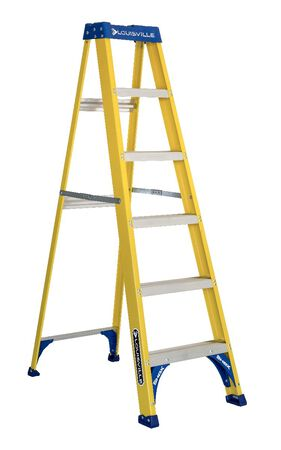 6 ft Louisville FS2006 Fiberglass Step Ladder, Type I, 250 lb Load Capacity
