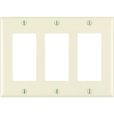 Leviton 3 gang Light Almond Nylon Rocker/GFCI Wall Plate 1 pk