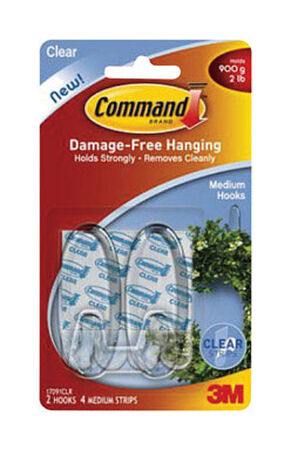 3M Command Small Hook 1-5/8 in. L Plastic 1 lb. per Hook 2 pk