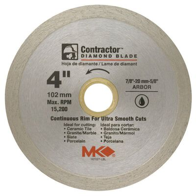 M.K. Diamond 4 in. Dia. Diamond Continuous Rim Circular Saw Blade For Wet