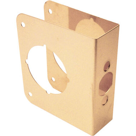 Prime-Line Lock and Door Reinforcer Entry 2-1/8 in. 4-5/16 in. x 4-1/2 in. Brass Solid Brass Use on