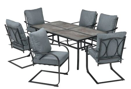 Living Accents Edge Water 7 pc. Black Steel Dining Set Blue