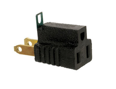 Ace Grounded Grounding Adapter Black 15 amps 125 volts 1 pk