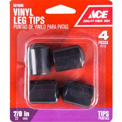 Ace Vinyl Round Leg Tip Black 7/8 in. W 4 pk