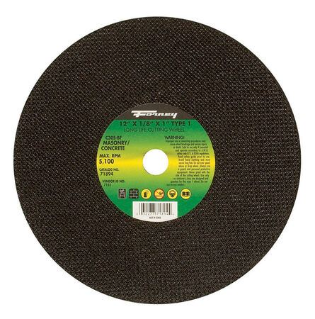 Forney 12 in. Dia. x 1/8 in. thick x 1 in. Masonry/Asphalt Cutting Wheel