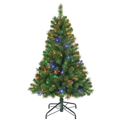 Polygroup 4 ft. Multicolored Prelit Balmoral Artificial Tree 100 lights