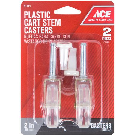 Ace Plastic Caster Wheel with Stem 1/3 in. H x 1/3 in. W x 2 in. Dia. 60 lb. Clear 2 pk